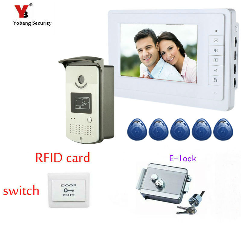 Yobang Security FREE 7 Video Intercom Door Phone System With White Monitor 5RFID Card Reader HD Doorbell Camera Electric lock yobang security freeship 7 video intercom for villa 2 monitor doorbell camera with 5pcs rfid cards hd doorbell camera in stock