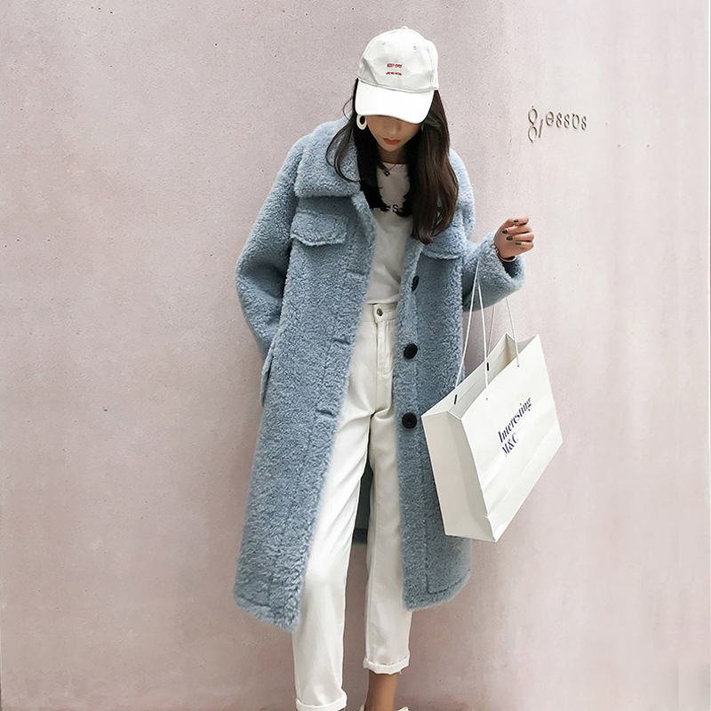 2019 New Granular wool sheep shearing coat women Merino Sheep wool jacket  winter thick fur size is big F1095
