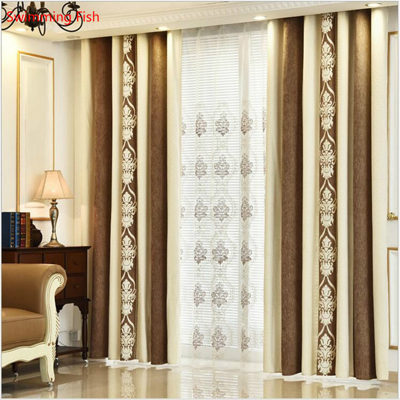 1 pair High-grade European style imitation cashmere shade curtains splicing natural color drape jacquard gauze for bedroom