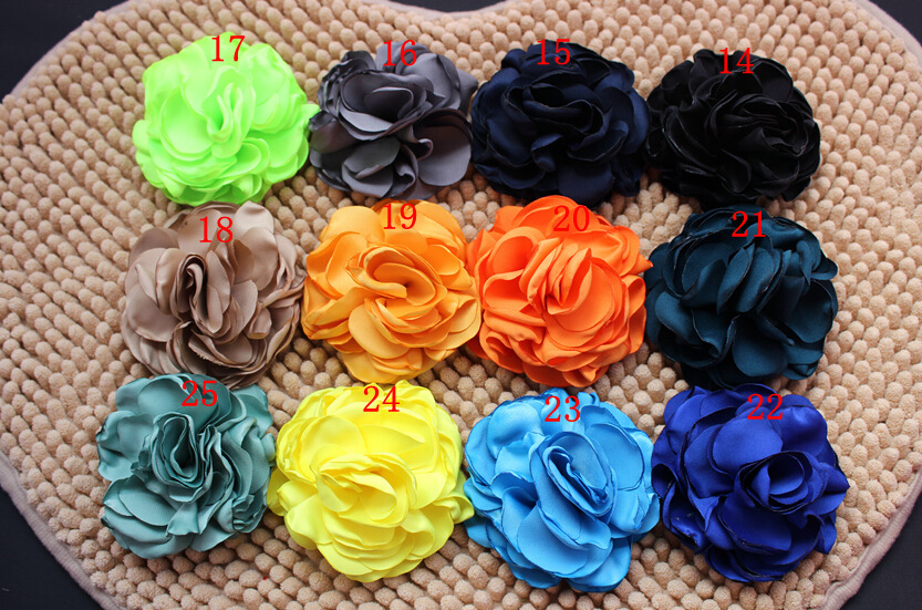 (30pcs/lot) 3.2 Burned Satin Flowers, Handmade Singed Flowers For Wedding Dress and Hair Accessories ...