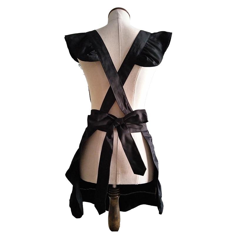 Küchenschürze Frau kocht schwarzer Baumwolle Lolita Cross Back - Haushaltswaren - Foto 4