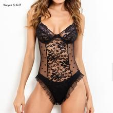 Weyes & Kelf Point Bodysuit Women Rompers Girl Flavor Deep V-neck Ruffled Sexy Lace