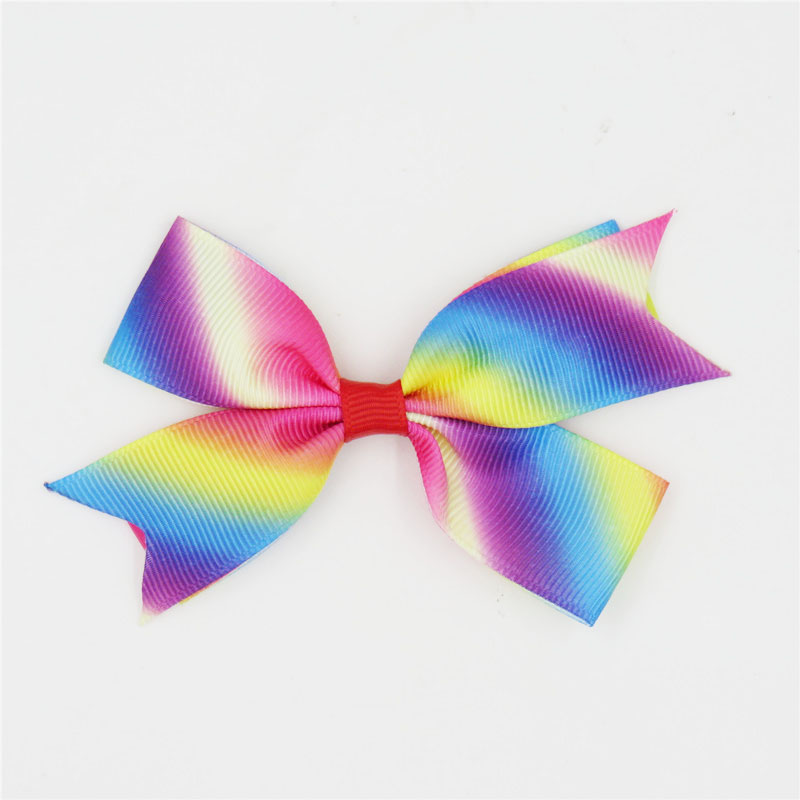 1PCS Novelty Rainbow Colors Elastic Hair Bands Toys For Girls Handmade Ribbon Bow Scrunchy Kids Hair Accessories For Womens 2018