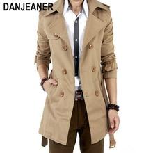 Тренчкот мужской классический двубортный, длинное пальто, Мужская одежда, длинные куртки и пальто, 2016
