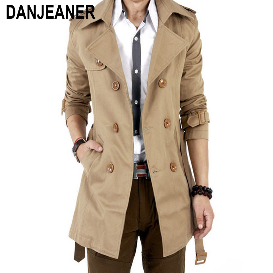 2016 Тренч Для мужчин классический двубортный Для мужчин s длинное пальто Masculino Для мужчин s Костюмы Длинные куртки и пальто британский стиль п... ...