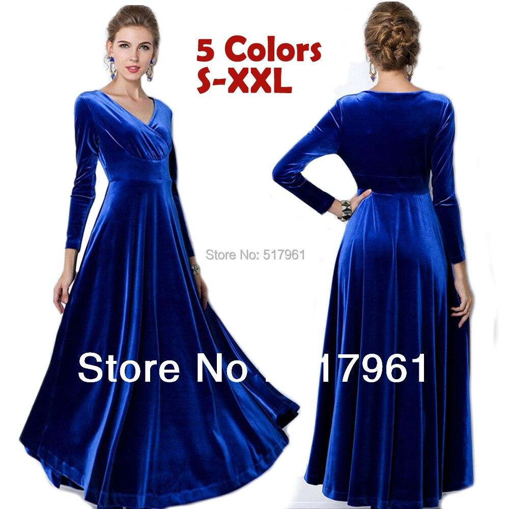New 2014 winter dress Plus Size Women Fashion Velour Long
