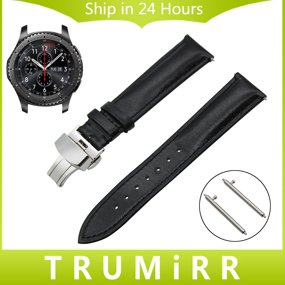 22mm Quick Release Watch Band for Samsung Gear S3 Classic / Frontier 1st Layer Genuine Leather Strap Butterfly Buckle Bracelet 22mm genuine leather watchband tool for samsung gear s3 classic frontier watch band butterfly buckle strap wrist bracelet black
