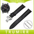 Faixa de relógio 22mm quick release para samsung gear clássico s3/frontier primeira camada de couro genuíno strap butterfly pulseira fivela