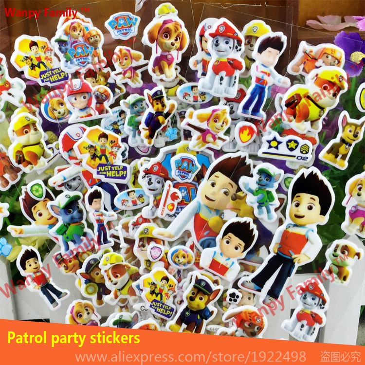 10 Sheets/lot 3D Carton Bubble Stickers Of Dog Patrol Puffy Stickers For  Kids Present