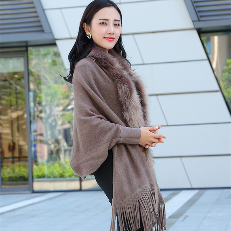 Faux Fur Collar Shawl Cardigan Tassel Winter Warm Coat 1