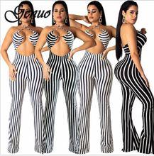 2019 Fashion Deep V One Piece Striped Women Overalls Waist Belted Wide Leg Office Sexy Bodysuit Bodycon Summer Elegant Jumpsuit