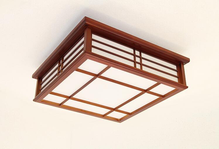 Japanese Style Square Ceiling Lamp Led Lighting Living Room Study Bedroom Solid Wooden Light Modern Minimalist LED Ceiling Lamp in Ceiling Lights from Lights Lighting
