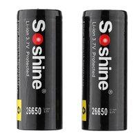 Soshine 2 шт 26650 3,7 V 5500mAh Защищенный Литий-ионный аккумулятор черный