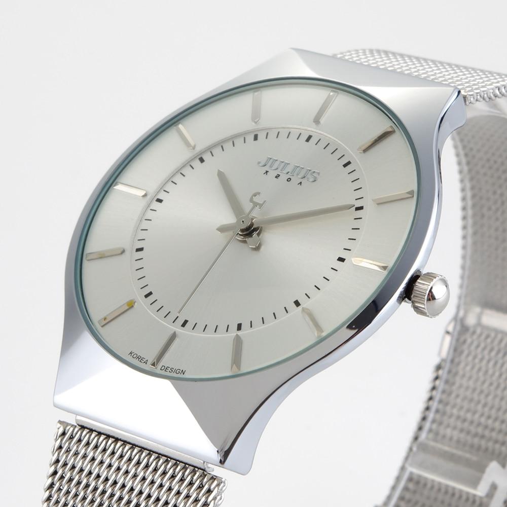 Top Brand Julius Men's Watches Stainless Steel Band Analog Display Quartz Men Wrist watch Ultra Thin Dial Luxury Men's Watches