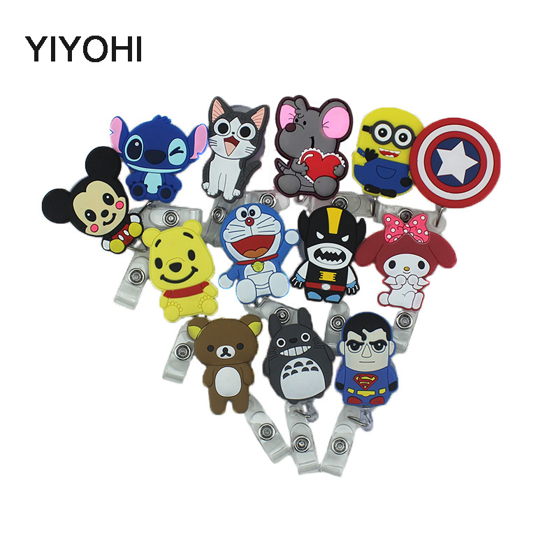 YIYOHI 60cm Cartoon Totoro Bear Stitch Silicone Retractable Reel For Bus Bank Credit Card Holder ID Holders
