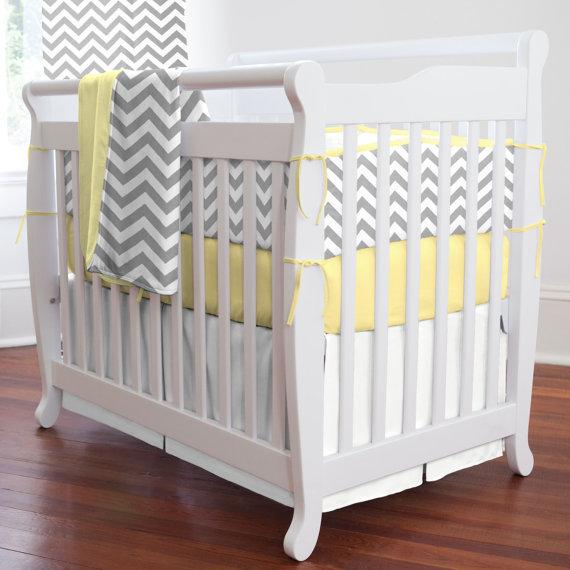 Yellow Grey Striped 7 Pieces Set Crib Baby Bedding Sweet Chevron Nursery Per