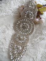 Crystal Applique Swarovski Rhinestone Applique Bridal Sash Beaded Rhinestone Bridal Headpiece Applique