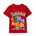 Мальчики футболки Детская Одежда 2016 Топы Мультфильм Мальчиков Одежда Хлопок Pocket Monster Пикачу Charmander Покемон Детская Одежда