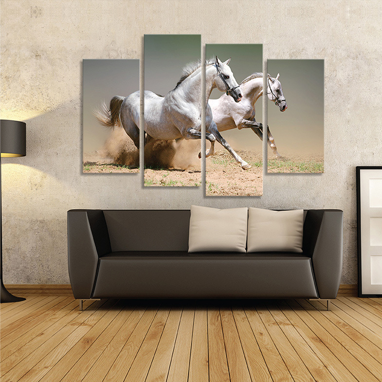 Buy 4 piece picture running white horse modern home wall decor painting canvas Home decor wall art contemporary
