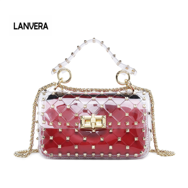 2018 Latest Transparent Women Shoulder Cross Body Bag with Stud Decoration Gold Metal Chain Strap Inner Bag Luis Vuiton gg bag cut out shoulder bag with inner pouch