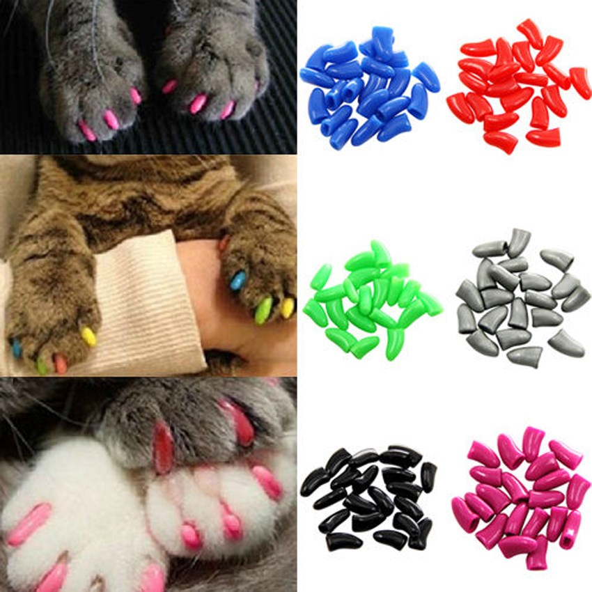 Hot 20PCS Dog Cat Nail Covers Pet Claw Paws Caps Adhesive Glue Animal Protection ...
