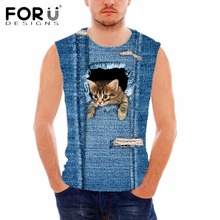 FORUDESIGNS Brand Designer Men Tank Tops Funny Dog Print Sleeveless Shirt for Male Summer Style Fitness Bodybuilding Man Top Tee