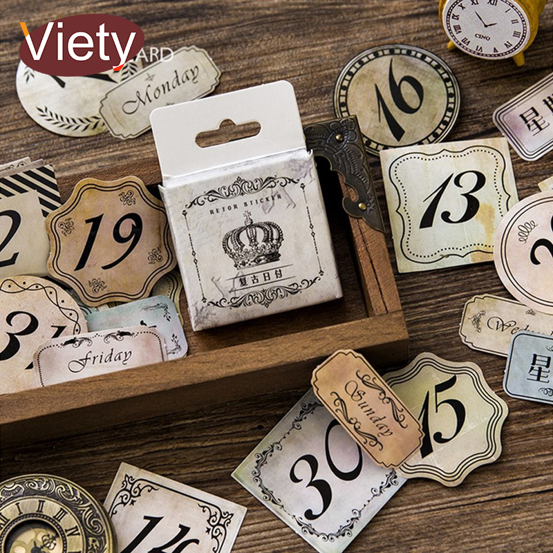 45 pcs/lot Vintage stamps numeral mini paper sticker DIY diary planner decorative sticker album scrapbook stationery