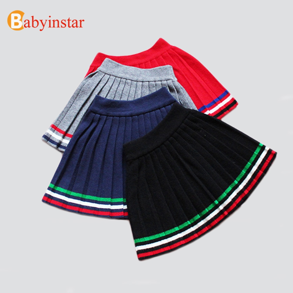 Babyinstar Girls Solid Princess Pleated School Skirt 2018 Autumn&Winter Kids Skirts Baby High Waisted Skirt Children Knit Skirt