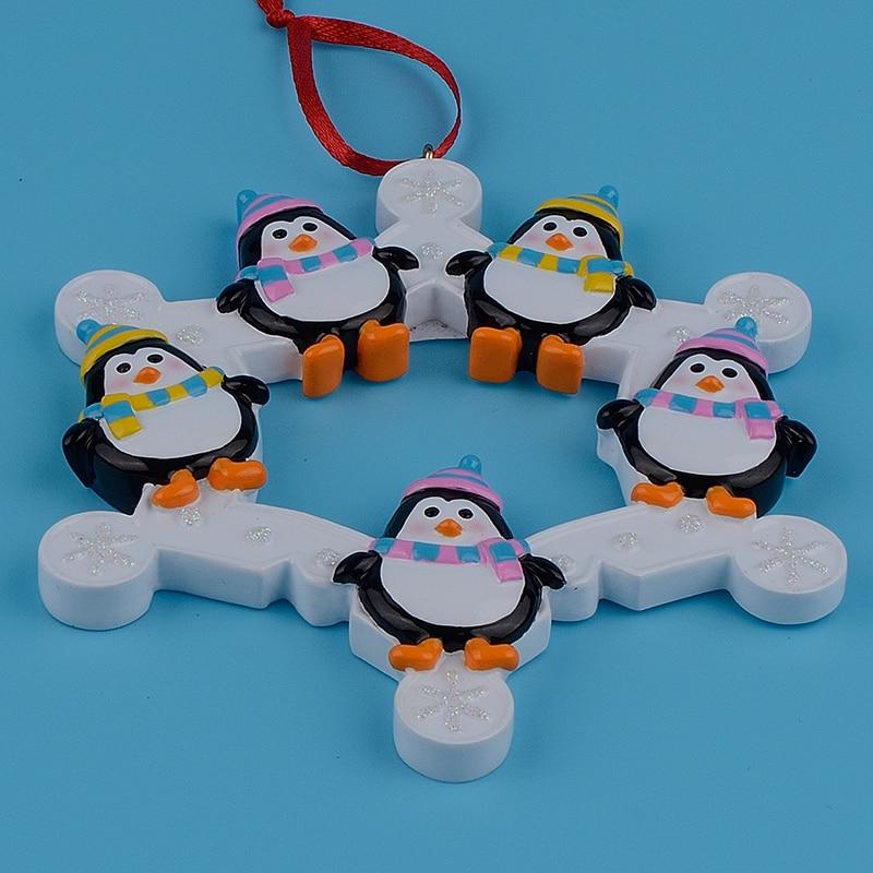 Familia de pingüinos de copos de nieve de 5 adornos de árbol de - Para fiestas y celebraciones - foto 3
