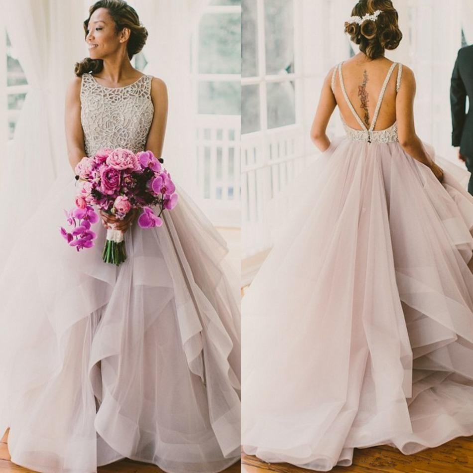 Classy Blush Tulle Ball Gown Wedding Dresses 2019 Beaded