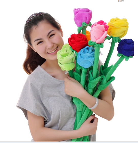 Korean lovely sun and rose flowers plush toy