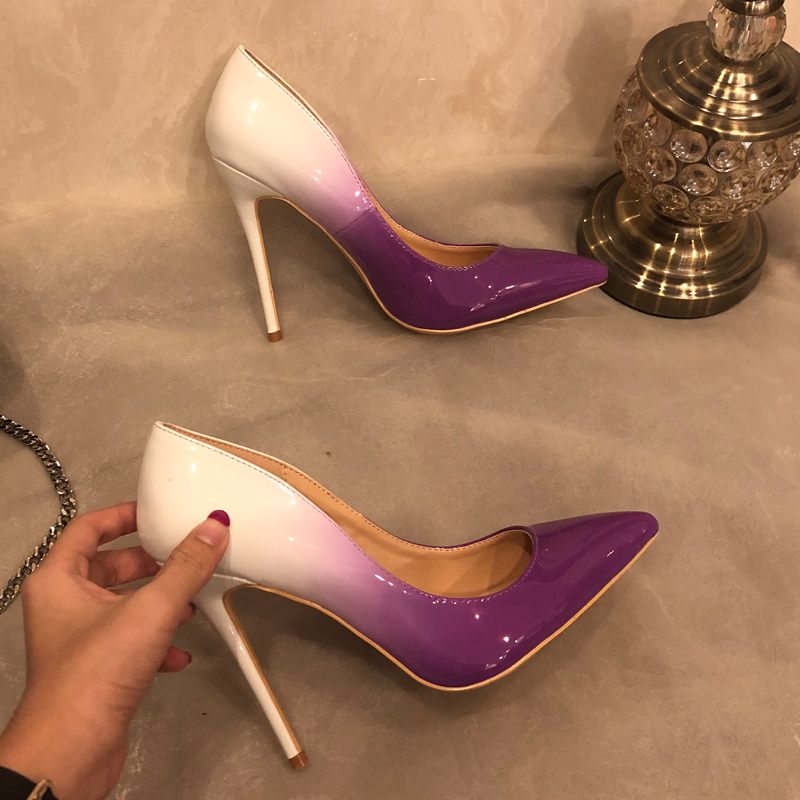 Free shipping fashion women Designer Brand New Gradient Color Purple patent leather point toe high heels pumps shoes Stiletto