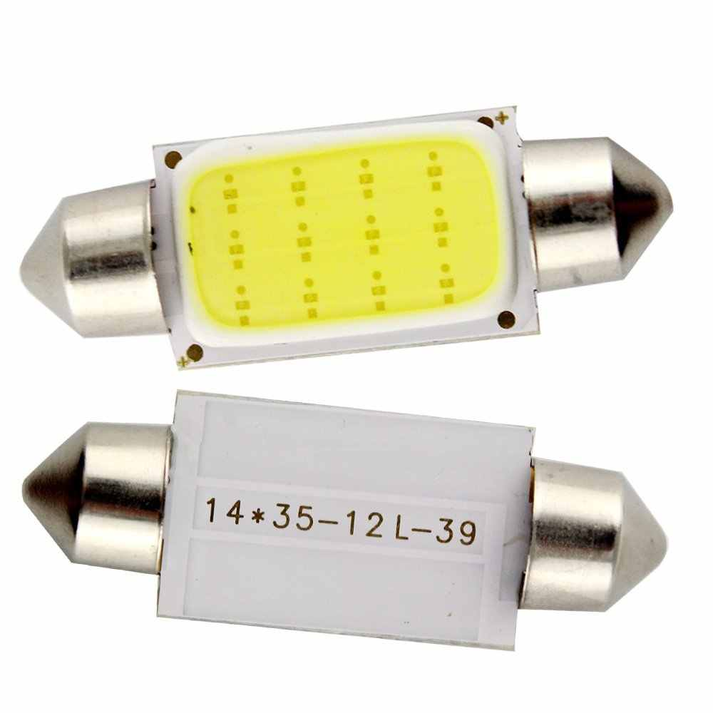 10pcs/lot DC12V Interior Car LED Bulbs Lamp 31mm 36mm 39mm 41mm Car COB 1.5W Interior Dome Lights Plate lamps Bulb