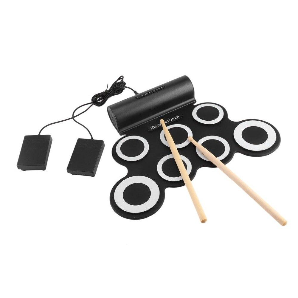 Portatile Pieghevole Del Silicone Electronic Drum Pad Kit USB Digitale Roll-up con Bacchetta Pedale con Cavo AudioPortatile Pieghevole Del Silicone Electronic Drum Pad Kit USB Digitale Roll-up con Bacchetta Pedale con Cavo Audio