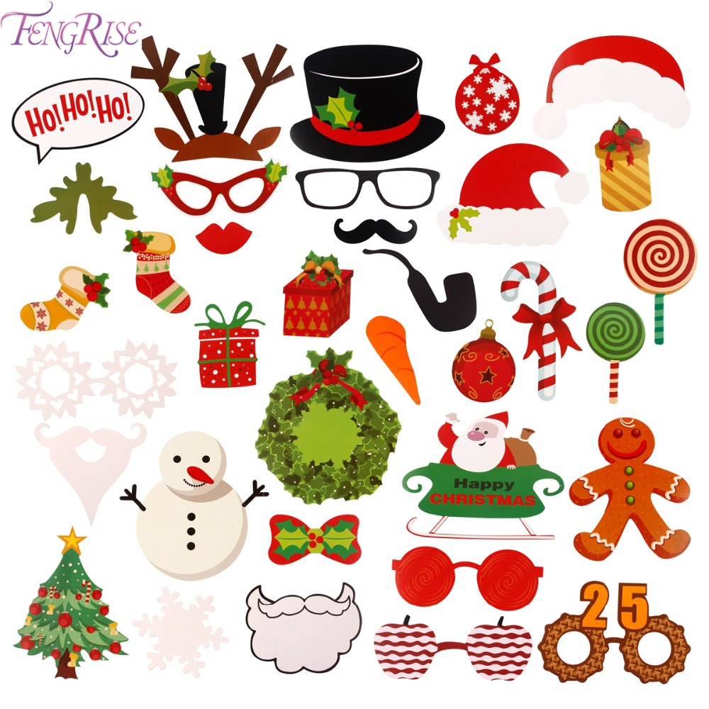 FENGRISE Photo Booth Props Christmas Decorations Funny Mask Merry Christmas Photobooth Happy New Year 2018 Party Supplies