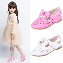 Autumn New Baby Girls flat shoes Kids bowknot princess Shoes For party and wedding Pink White 2T 3T 4T 5T 6T 7T-15T