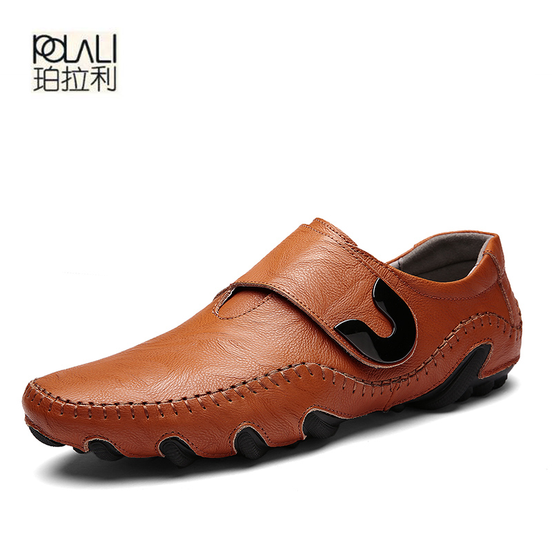 POLALI Genuine Leather Men Casual Shoes Slip-On Flats Spring and Autumn  Soft Split Moccasin ed37e9205a2d