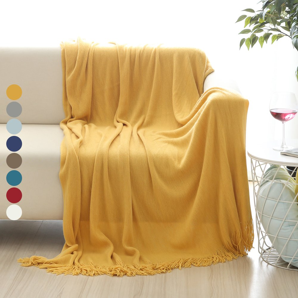 Sofa Throws Knitted Us 22 99 Aliexpress Buy Battilo Solid Blanket Cross Woven Couch Throw Knitted Blanket With Decorative Fringe Lightweight For Bed Or Sofa