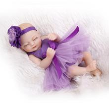 25cm Full Body Silicone Reborn Baby Doll Toy Mini Newborn Sleep Babies Bedtime Play House Bathe
