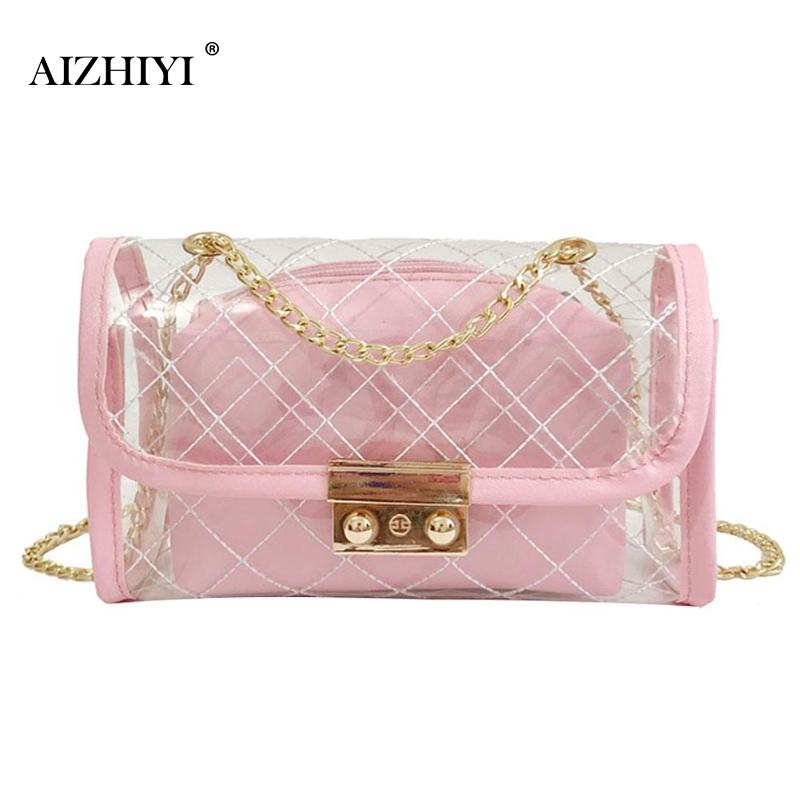 Women PVC Summer Messenger Bag Female FashionSimple Beach Shoulder Bag Casual Clear Transparent Chain Portable Cossbody Bag 2018 ...