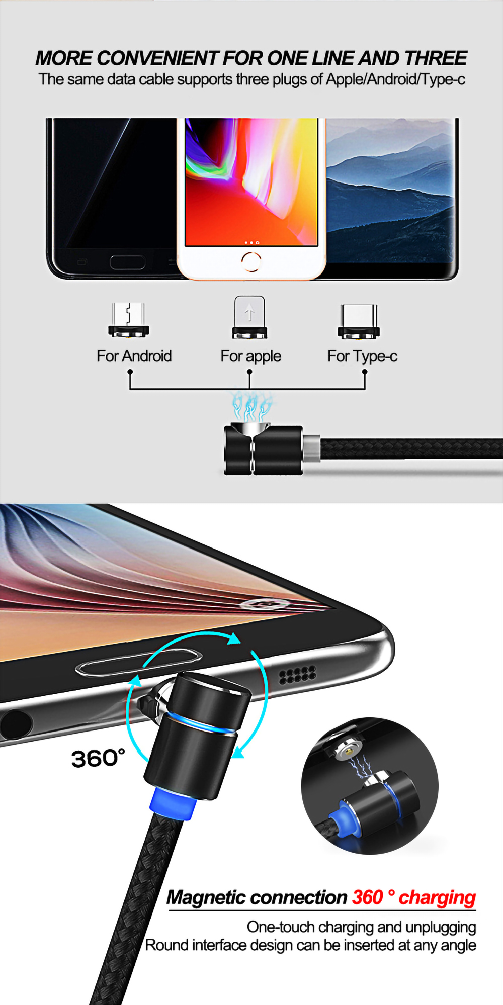 iphone cable magnetic cable for Android Apple Type-C magnetic blind blind suction nylon round magnetic micro usb cable 3