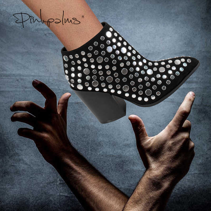 Sinsaut รองเท้าผู้หญิงฤดูหนาวรองเท้าแฟชั่นรองเท้าส้นสูงรองเท้าผู้หญิงรองเท้าบูทเซ็กซี่ Rivets ชี้ Toe ผู้หญิงรองเท้าข้อเท้า