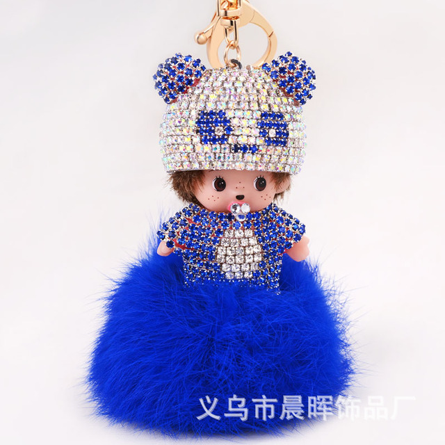Panda Hat Handmade Monchichi Keychain Ladies Bag Charm Key Ring Ornaments Factory Direct Sale