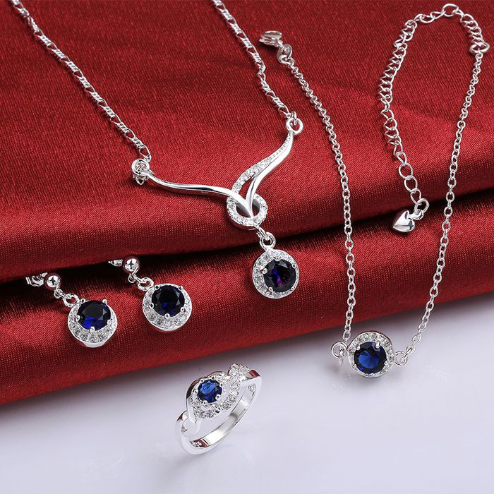 925 Sterling Silber Schmuck-set, Modeschmuck Set A038-c Ohrring 449 Halskette 482 Ring 322-8/imuareba Ikharboa S784-b Rohstoffe Sind Ohne EinschräNkung VerfüGbar