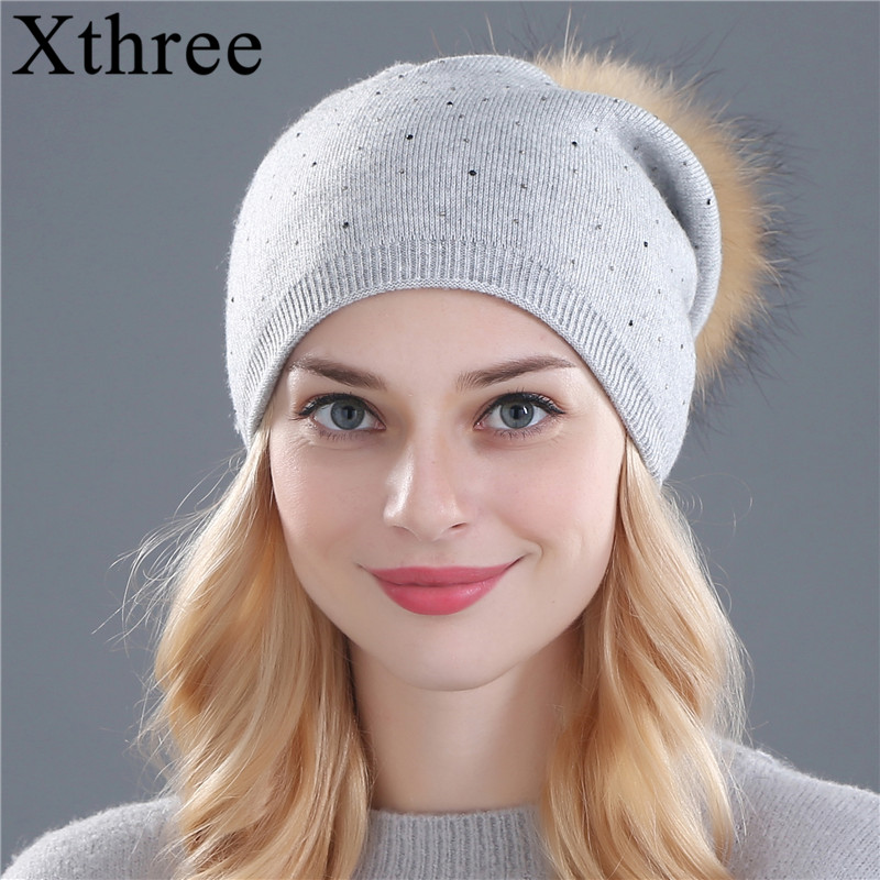[Xthree] 2017 new winter knitted hat for women warm wool beanie hat for girl real Raccoon fur pom poms thick female cap new soft true raccoon fur dismountable mao mao qiu wool cap female winter thickening warm knitting hat