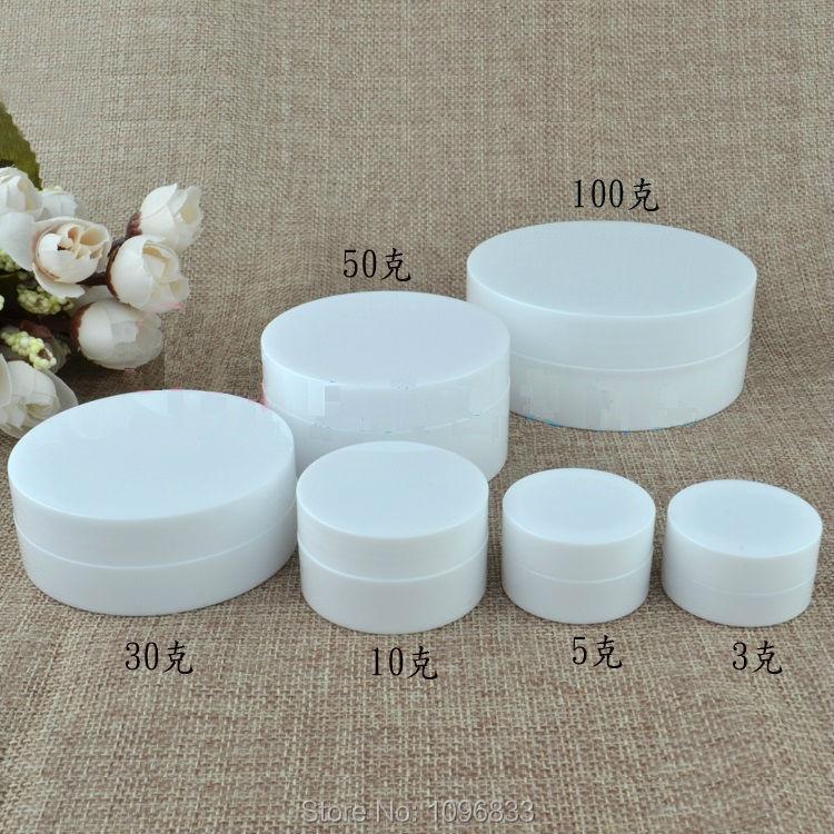 100G 100ML White Plastic Jar Concave Bottom Cosmetic Cream Case White Jar Plastic Box Empty Packing