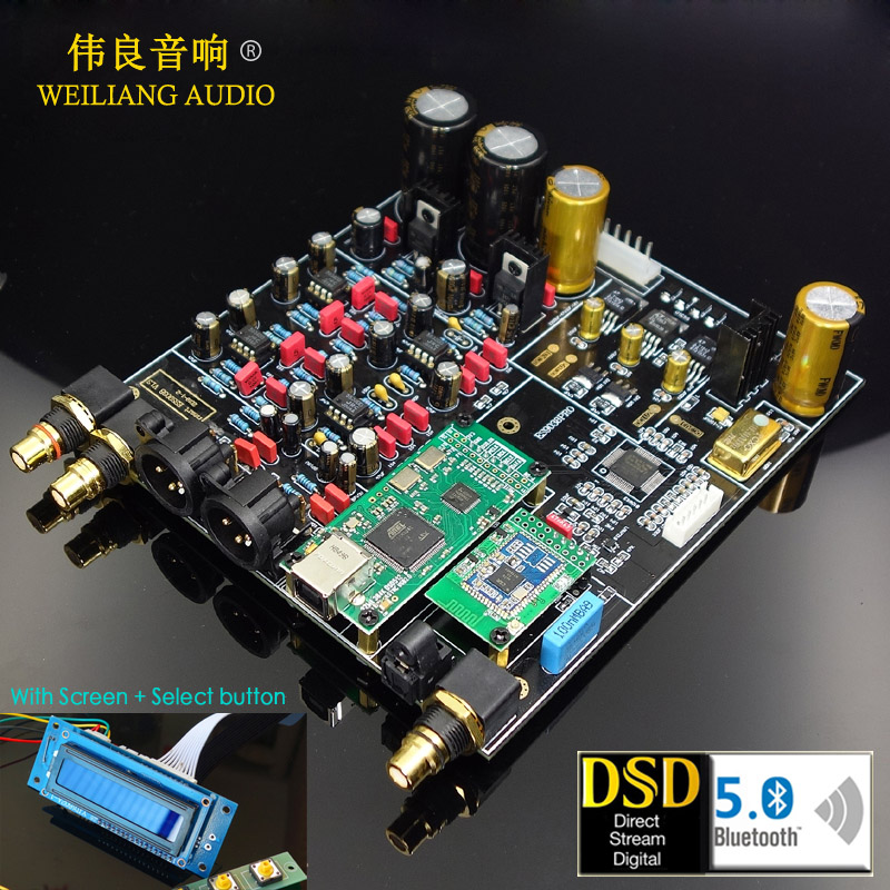 2019 New HIFI ES9018 ES9028PRO ES9038PRO XMOS XU208 Amanero USB decoder DAC Board Support Add Bluetooth