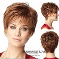 2015 Heat Resistant synthetic kinky straight short pixie Wigs with side bangs discount wigs brown blonde hair wig for Womens