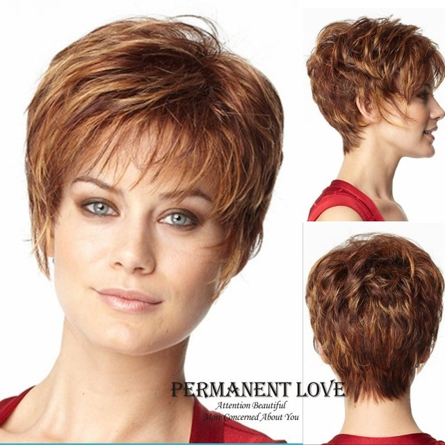 2015 Heat Resistant synthetic kinky straight short pixie Wigs with side  bangs discount wigs brown blonde hair wig for Womens b3804f4f42