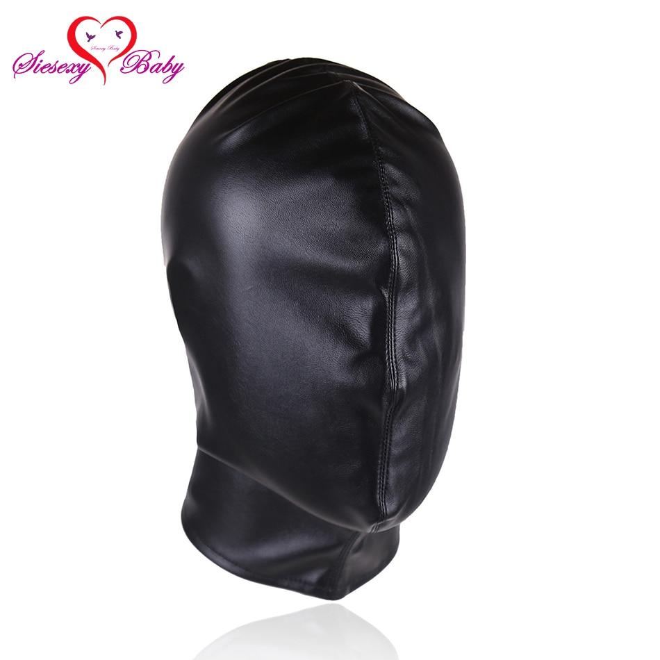 Black Faux Leather Bdsm Bondage Restraints Head Hood -1129